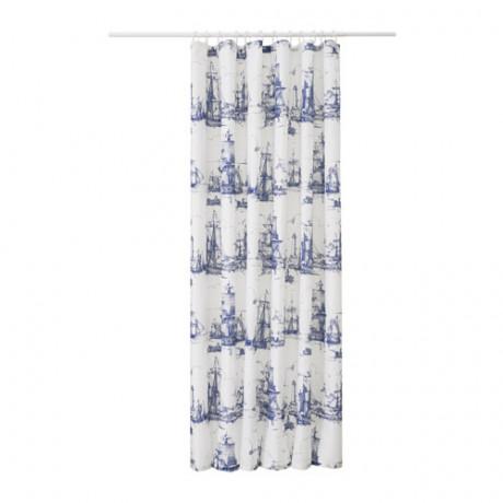 Штора для ванной АГГЕРСУНД синий, белый фото 0